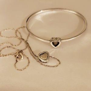 925 Silver 3D Heart Necklace and Bracelet Set